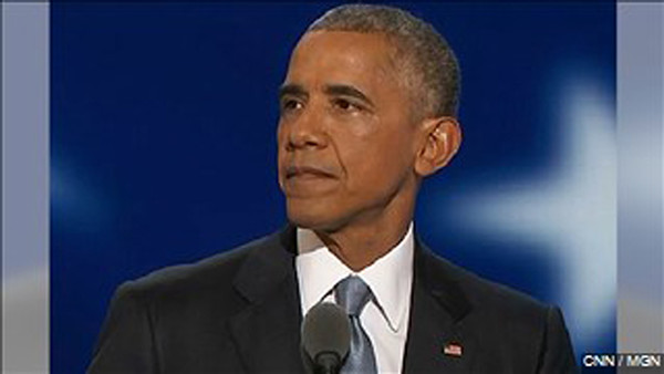 Pres. Barack Obama addressing party at Democratic National Convention. Photo: MGN Online