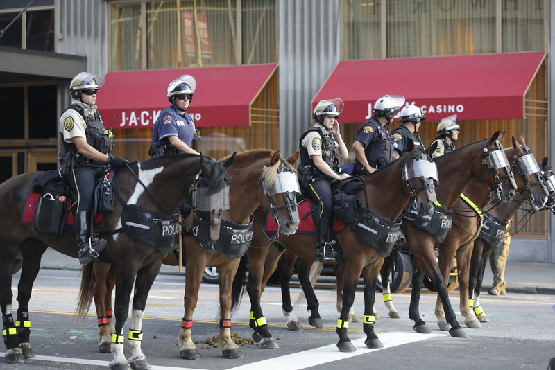 Police with maximum enforcement during protests. Photo: Bro. Michael Muhammad