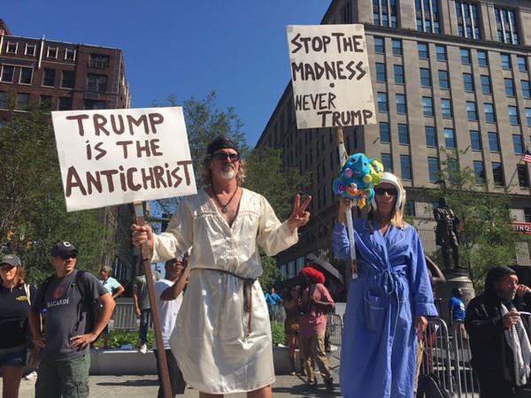 Anti-Trump protesters outside of Convention. Photo: Bro. Michael Muhammad