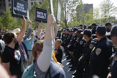 Protesters weren't timid to cross over to enforcement. Photo: Bro. Michael Muhammad