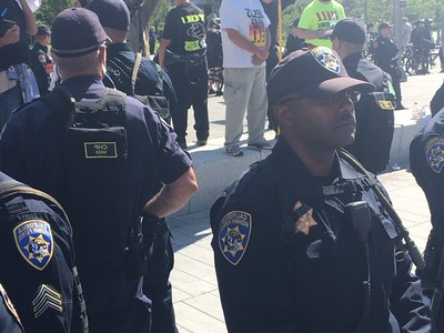 Police enforcement on guard as protest movement steadily increase. Photo: Bro. Michael Muhammad