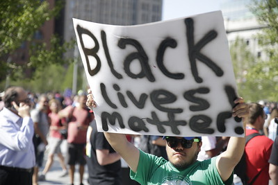 "Protester promoting the ""Black Lives Matter"" movement. Photo: Bro. Michael Muhammad"