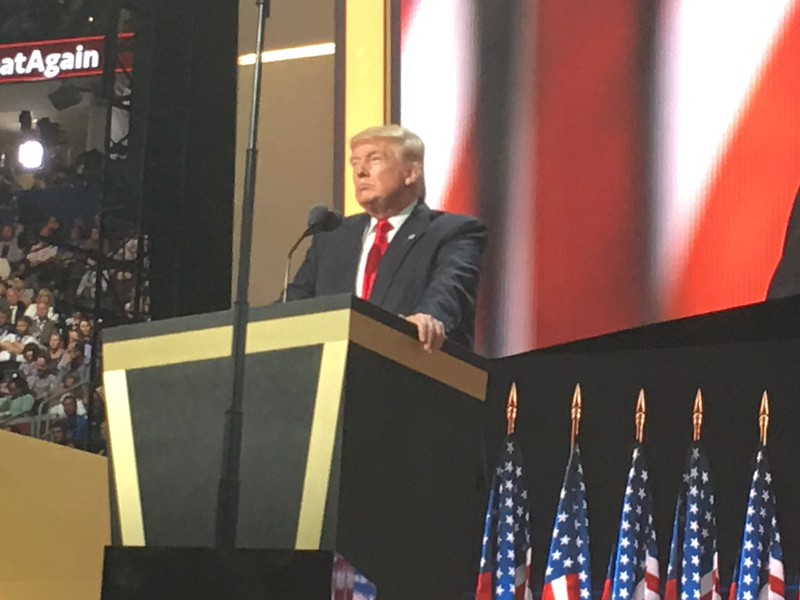 Donald Trump delivering address.<br /> Photo: Bro. Michael Muhammad