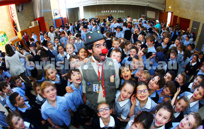 "14-10-15. It was rock star status for David ""DuSH"" Barashi, Hadassah Hospital Jerusalem's medical clown when he made a visit to The Mount Scopus Gandel Besen campus. Photo: Peter Haskin"