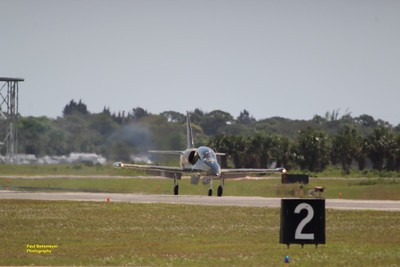 Russian Mig doing throttle up before taking off.