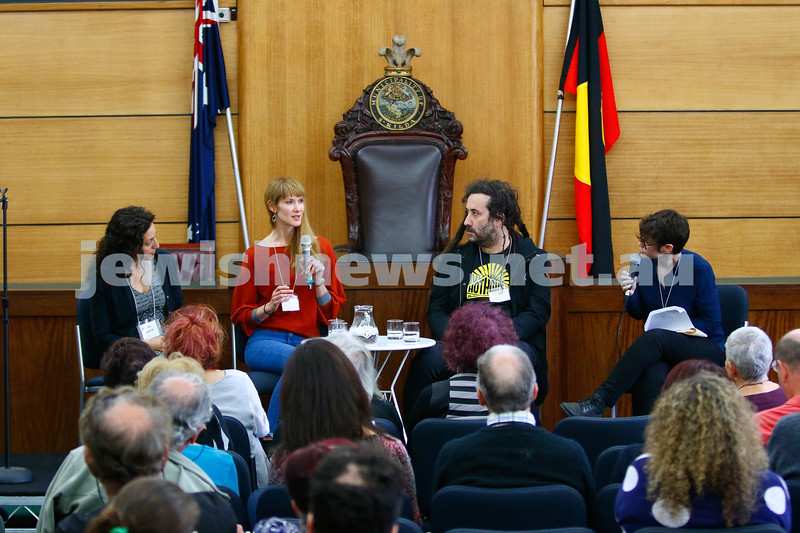 3-5-18 Melbourne Jewish Book Week. St Kilda Town Hall.  From left: Rachel Kadish, Marija Pericic, Bram Presser, Marie Matteson.  Photo: Peter Haskin