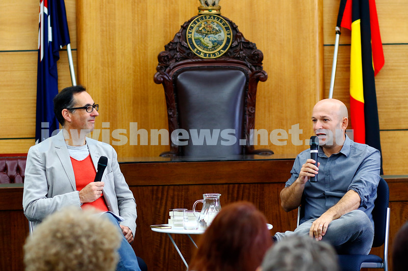 3-5-18 Melbourne Jewish Book Week. St Kilda Town Hall.  Stewart King (left), Dror Mishani. Photo: Peter Haskin