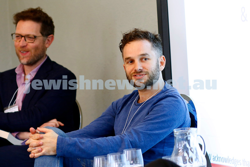 3-5-18 Melbourne Jewish Book Week. St Kilda Town Hall.  From left: Stefan Merrill Block, Nathan Besser, Photo: Peter Haskin