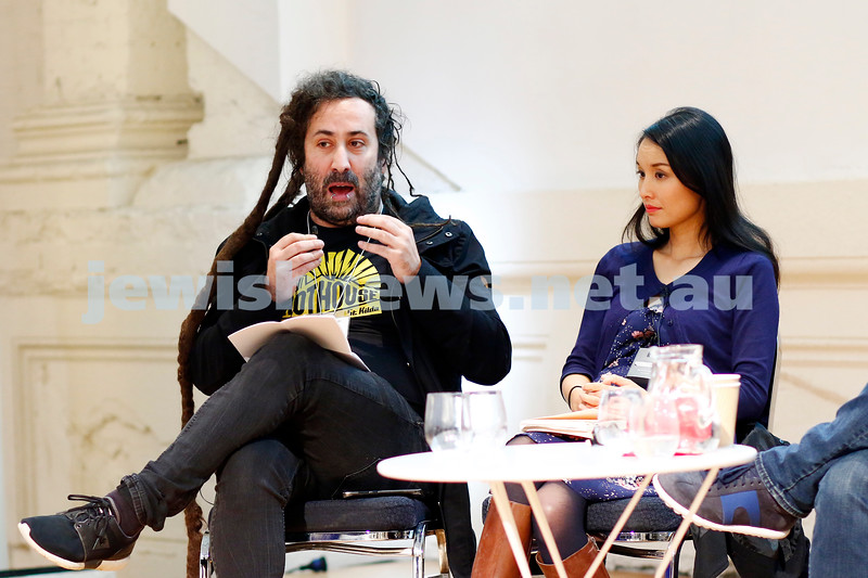 3-5-18 Melbourne Jewish Book Week. St Kilda Town Hall.  Elswhere Streets.  Bram Presser, Alice Pung, Photo: Peter Haskin