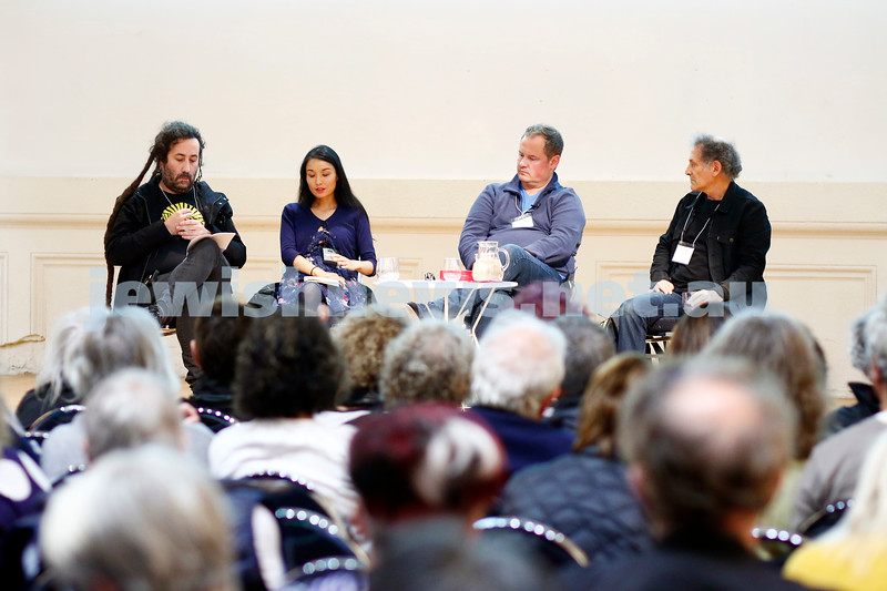3-5-18 Melbourne Jewish Book Week. St Kilda Town Hall.  Elswhere Streets. From left: Bram Presser, Alice Pung, A.S. Patric, Arnold Zable. Photo: Peter Haskin