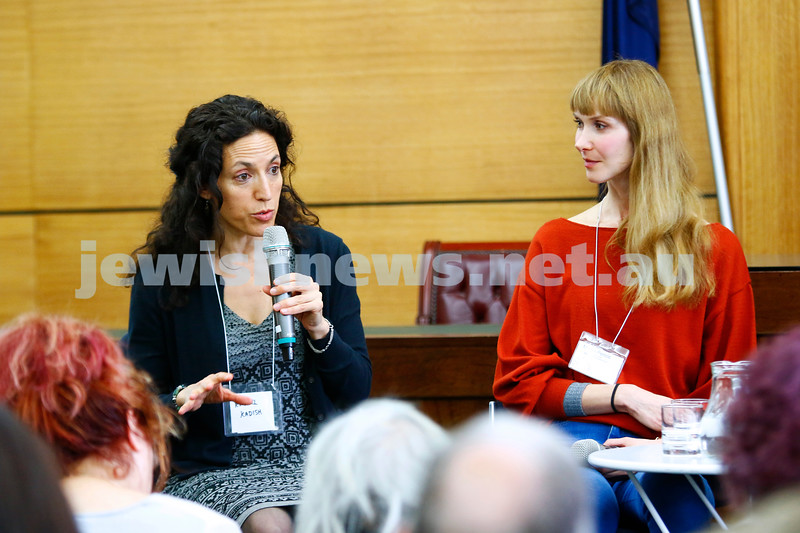 3-5-18 Melbourne Jewish Book Week. St Kilda Town Hall.  Rachel Kadish (left), Marija Pericic. Photo: Peter Haskin