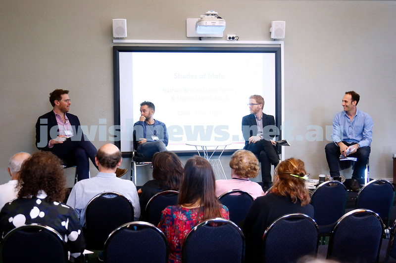 3-5-18 Melbourne Jewish Book Week. St Kilda Town Hall.  From left: Stefan Merrill Block, Nathan Besser, David Cohen, Marc Light. Photo: Peter Haskin