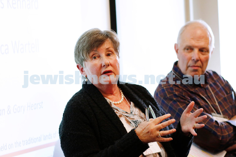 3-5-18 Melbourne Jewish Book Week. St Kilda Town Hall.  Elizabeth Holdsworth, Paul Forgasz.  Photo: Peter Haskin