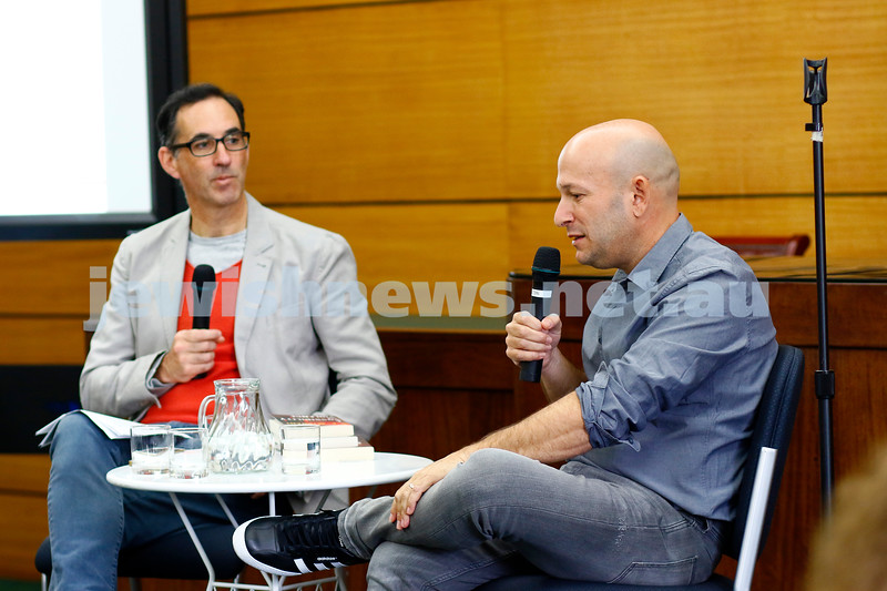 3-5-18 Melbourne Jewish Book Week. St Kilda Town Hall.  Stewart King (left), Dror Mishani.Photo: Peter Haskin