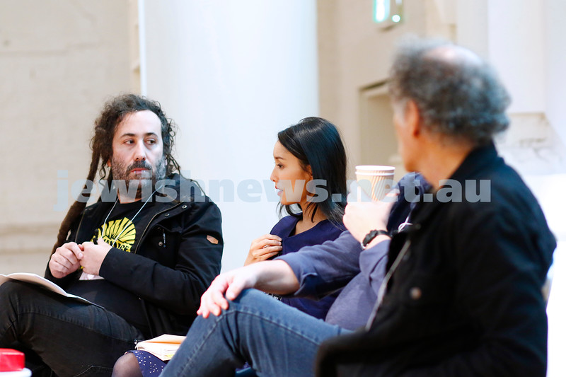 3-5-18 Melbourne Jewish Book Week. St Kilda Town Hall.  Elswhere Streets. From left: Bram Presser, Alice Pung, Arnold Zable. Photo: Peter Haskin