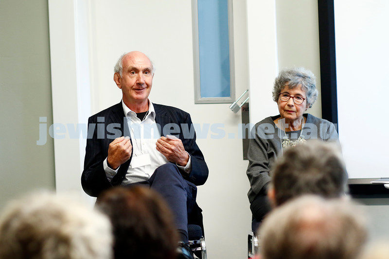 3-5-18 Melbourne Jewish Book Week. St Kilda Town Hall.  Mark Aarons, Sara Dowse. Photo: Peter Haskin