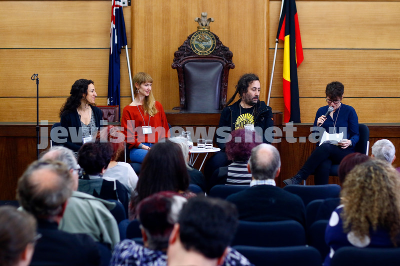 3-5-18 Melbourne Jewish Book Week. St Kilda Town Hall.  From left: Rachel Kadish, Marija Pericic, Bram Presser.  Photo: Peter Haskin