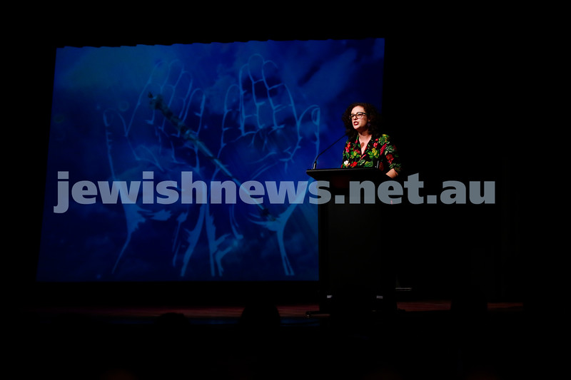 3-5-18 Melbourne Jewish Book Week Launch at Glen Eira Town Hall. Jessica Bellamy. Photo: Peter Haskin