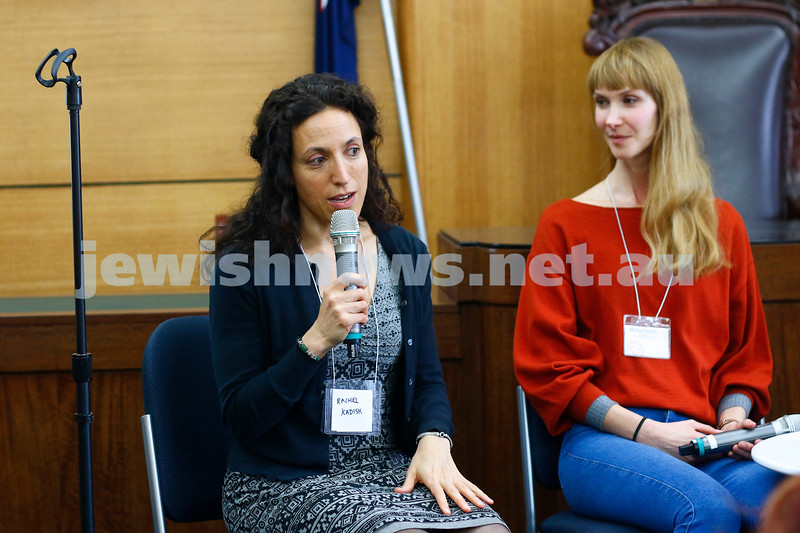 3-5-18 Melbourne Jewish Book Week. St Kilda Town Hall.  Rachel Kadish, Marija Pericic. Photo: Peter Haskin