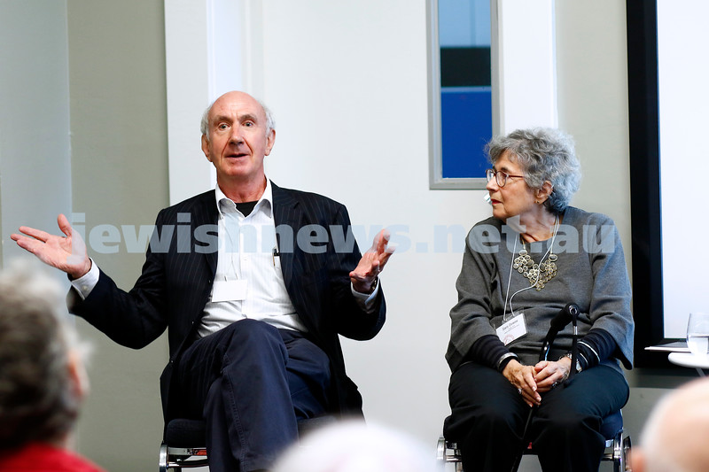3-5-18 Melbourne Jewish Book Week. St Kilda Town Hall.  Mark Aarons, Sara Dowes. Photo: Peter Haskin