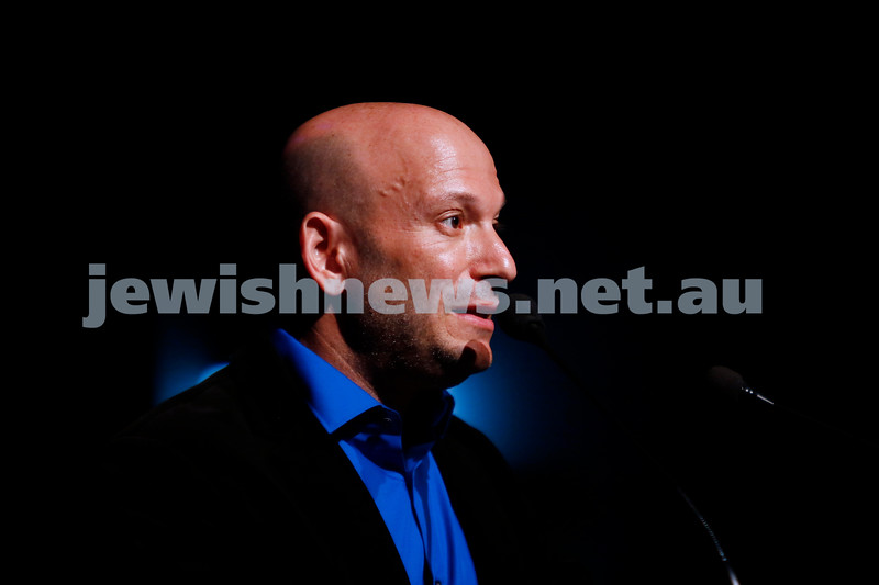 3-5-18 Melbourne Jewish Book Week Launch at Glen Eira Town Hall. Dror Mishani. Photo: Peter Haskin