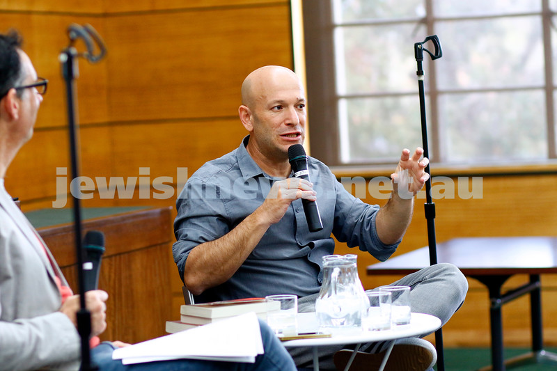 3-5-18 Melbourne Jewish Book Week. St Kilda Town Hall.  Dror Mishani. Photo: Peter Haskin