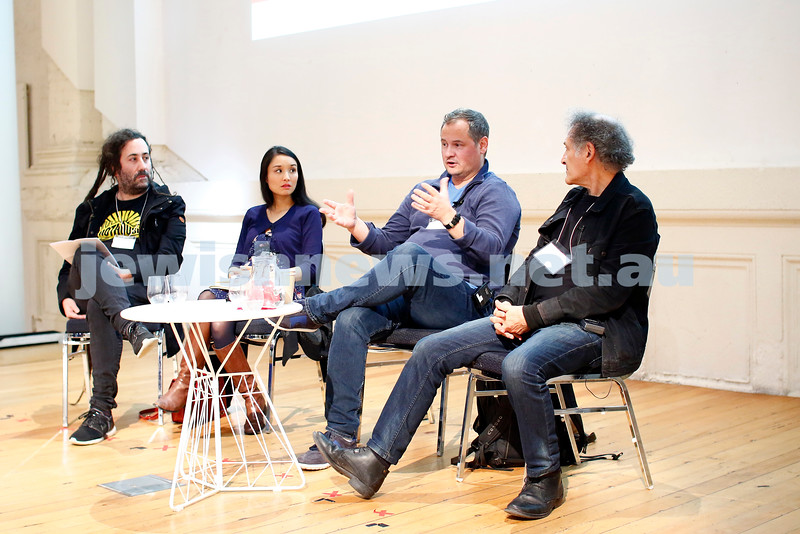 3-5-18 Melbourne Jewish Book Week. St Kilda Town Hall.  Elsewhere Streets. From left: Bram Presser, Alice Pung, A.S. Patric, Arnold Zable. Photo: Peter Haskin