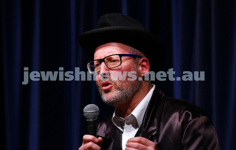 10-10-15. Melbourne Jewish Comedy Festival. Gala Opening.  Rabbi Mendel Goornisht. Photo: Peter Haskin