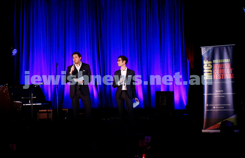 11-9-16. Melbourne Jewish Comedy Festival. MEMO Music Hall, St Kilda. Josh Gurgiel (left), Eli Grynberg. Photo: Peter Haskin