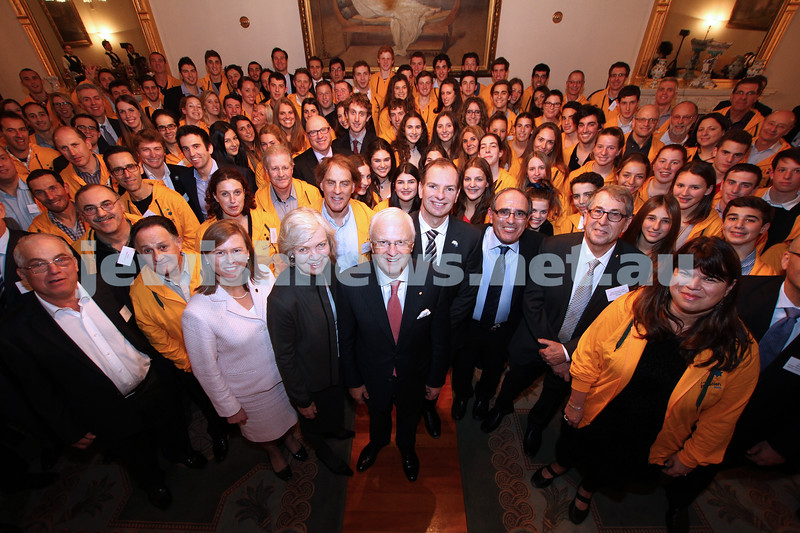 17-6-13. Official farewell for the Victorian members of the Australian team heading to the 19 Maccabiah games. Government House. Victroian Govenor Alex Chernov front centre. Photo: Peter Haskin