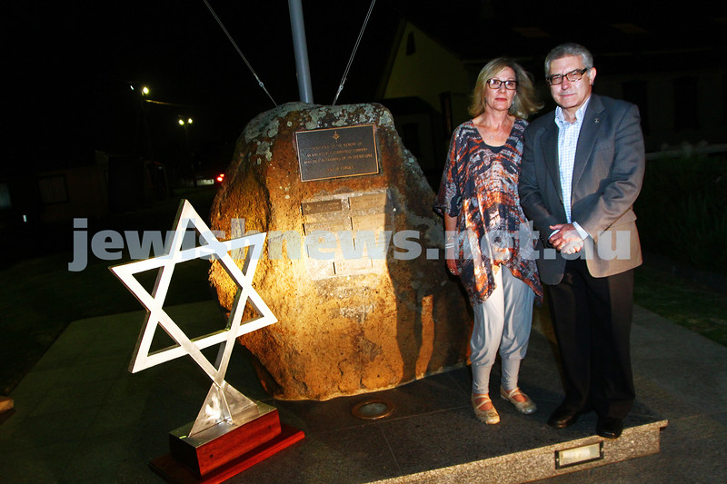 3-12-13. Magen David made by the Australian Army for Greg Sher in Afganistan. The Magen David was handed over to Greg's parents, Felix and Yvonne at a brief ceremony at Fort Gellibrand. Photo: Peter Haskin