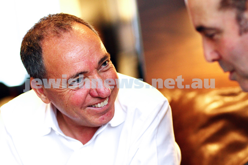 27-9-13. Peter Kohn doing the final interview with Israeli ambassador Yuval Rotem before he returns home to Israel. Inter Continental Rialto in Melbourne. Photo: Peter Haskin