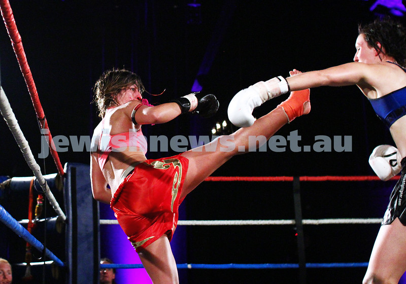 5-10-13. Road to Rebillion 2. Muay Thai boxing. Tali Silberman fighting Claire Foreman for the WMC Victorian title at Power House, Albert Park. Photo: Peter Haskin