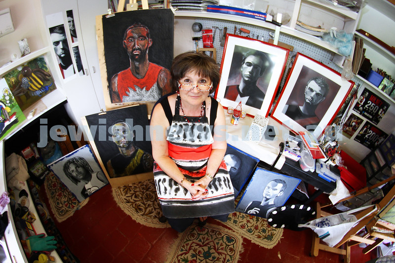 13-3-13. Local artist Yvette Wroby in her home studio with some of the pieces for her upcoming exhibition. Photo: Peter Haskin