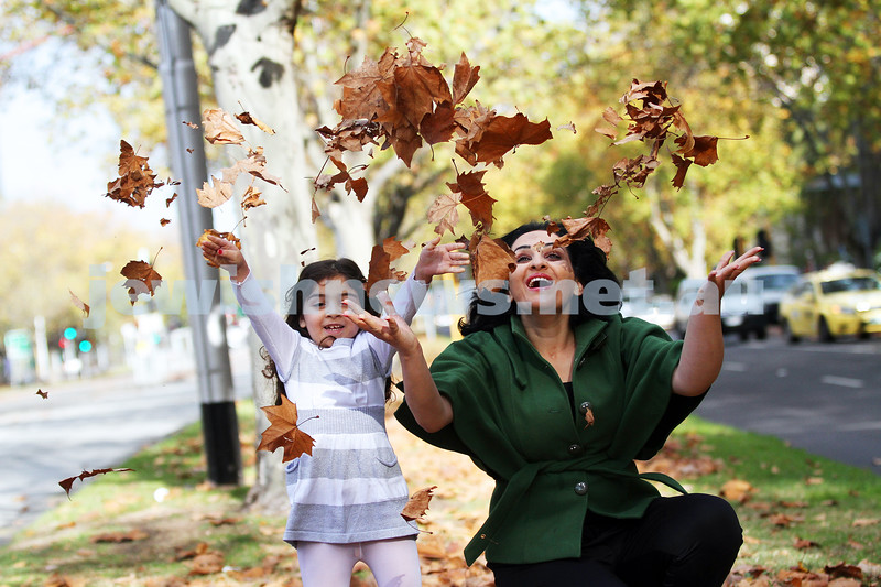 28-5-13. Project Rozana. Rozana Sawalhi (left) with her mother Maysa Abu Ghannam enjoying Autumn in Melbourne. Rozana, a Palestinian living in Jerusalem  was treated at Hadassah Hospital after falling 9 floors from her apartment. Photo: Peter Haskin