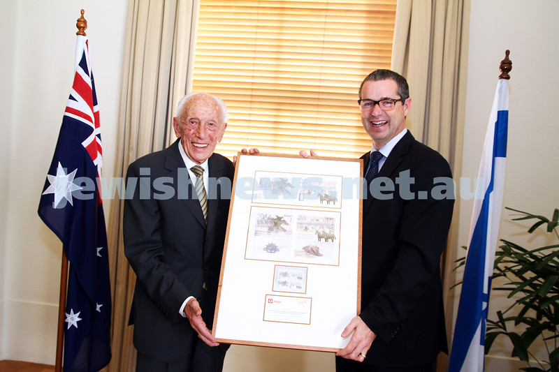 10-5-13. Launch of Israel-Australia stamp at Treasury Place, Melbourne. Max Stern (left) with minister Stephen Conroy. Photo: AJN/Peter Haskin