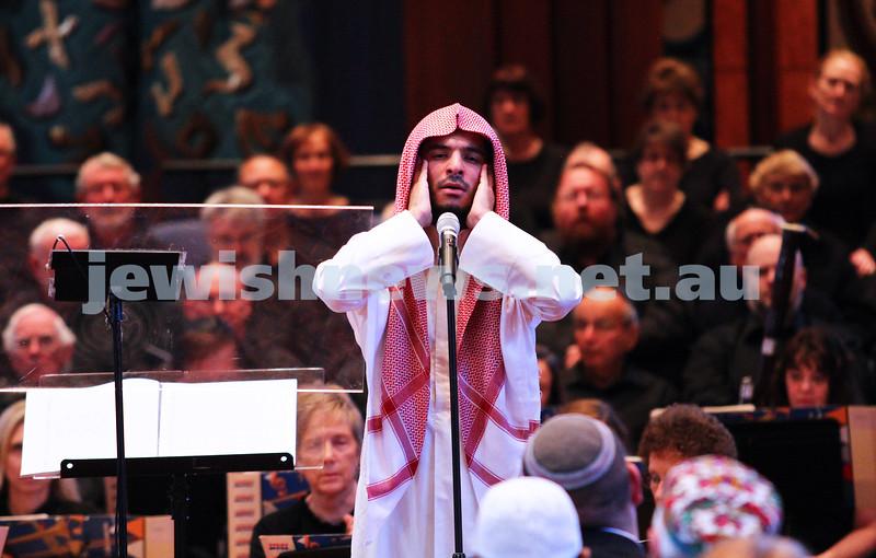15-6-14. Temple Beth Israel. Sacred Music Concert - An Interfaith Celebration. Abdul Aziz, call to prayer. Photo: Peter Haskin