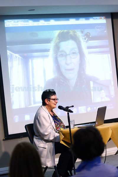 22-5-16. Jewish Writers Festival. Melbourne 2016. Ann Goldstein on Skype interviewed by Mirna Cicioni. Photo: Peter Haskin
