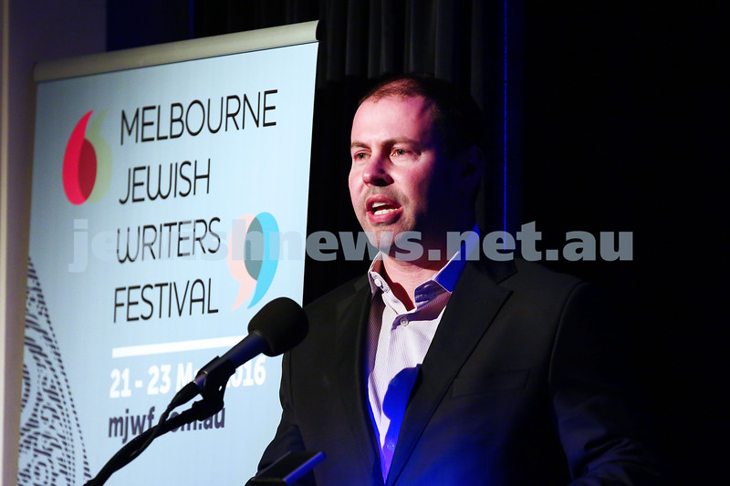 21-5-16. Opening of the Jewish Writers Festival 2016 at Glen Eira Town Hall. Josh Frydenberg. Photo: Peter Haskin