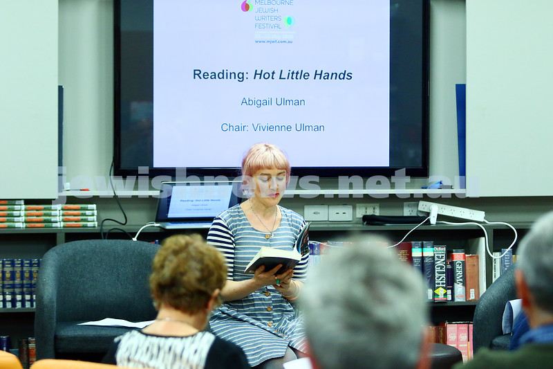 "22-5-16. Jewish Writers Festival. Melbourne 2016. Abigail Ulman reading ""Hot Little Hands"". Photo: Peter Haskin"