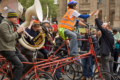 Green Protest on Swanston Street - the Band