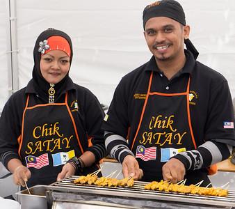 Azizan & Nazipah selling satay at Fiesta Malaysia, Mar 2012. Lygon Street, Melbourne. http://www.fiestamalaysia.com.au/