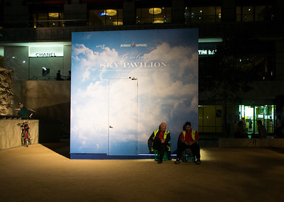Enjoying the night sky.  Melbourne City Square. March 2012
