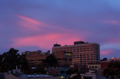 Salmon sky over Carlton. View from MBS