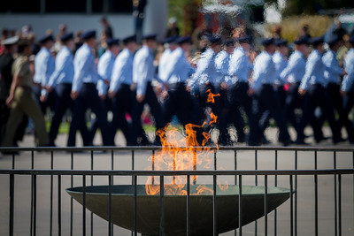 Eternal flame at the Anzac Day Parade, April 2013.