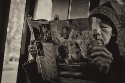 Reading on the tram