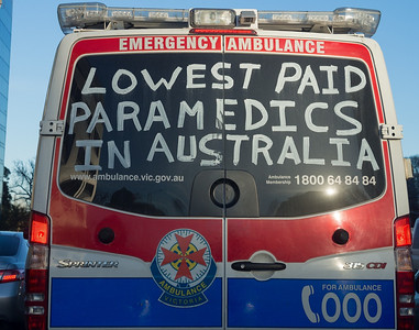 Paramedics protesting low pay. June, 2013