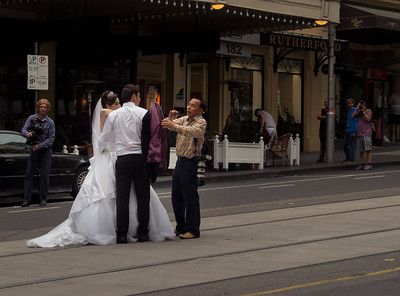 Wedding couple on a tram line. Dec 2013