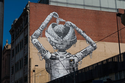 Amazing new piece of street art. Are we the city the robot is dreaming about?