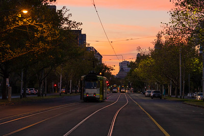 Tram on St Kilda Rd (night)